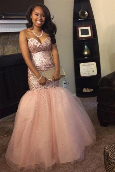 Sequins Mermaid Sweetheart Gorgeous Pink Sleeveless Tulle Prom Dresses