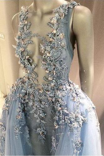 Long Floor Length ball gown quinceanera dresses Evening Dresses Glamorous Prom Dress light sky blue Graduaction Dresses