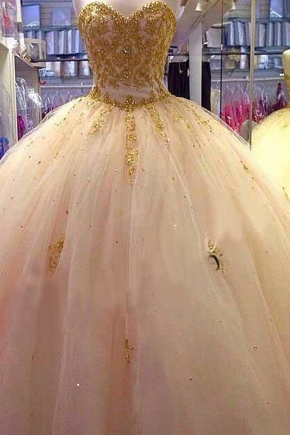 quinceanera dresses,Beautiful Gold Applique Ball Gown Quinceanera Dresses Sweetheart Tulle Puffy Prom Pageant Dresses for 15 16 Years.