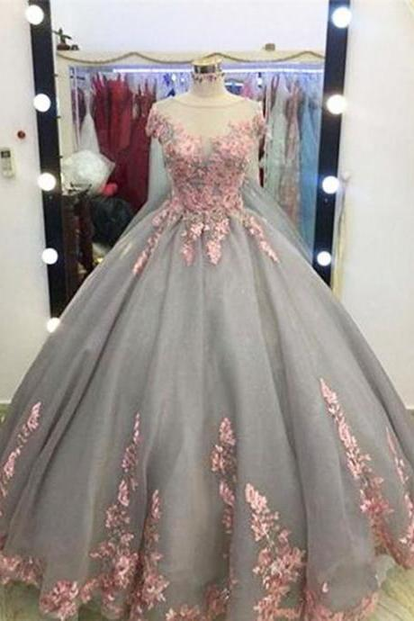 quinceanera dresses,Unique Grey Long Ball Gown,Appliqued Cap Sleeves Prom Dress,Big Wedding Dresses,Grey Formal Evening Dress,Gray Quinceanera Dresses