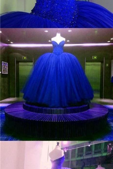 Sparkly Gorgeous Long Prom Dresses,Quinceanera Dresses,Modest Prom Dress For Teens,Royal Blue Prom Gowns