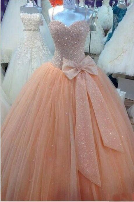 Quinceanera Dresses Peach Tulle Ball Gown Quinceanera Dresses Real Image Spaghetti Corset Cheap Sweet 16 Dress with Bow