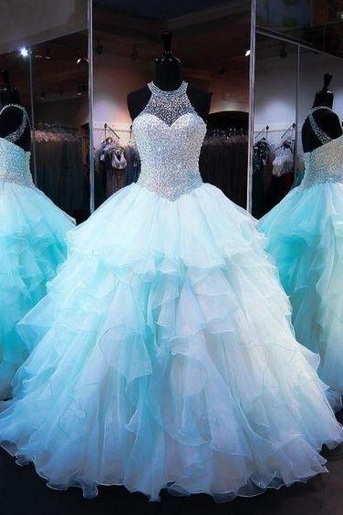 Quinceanera Dress,Tulle Quinceanera Dresses Ball Gowns Light sky blue prom dresses