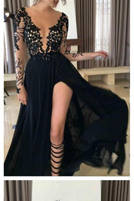 Long Sleeve Black Mermaid Evening Prom Dresses, Sexy Deep V Neckline Slit Party Prom Dress, Custom Long Prom Dresses, Cheap Formal Prom Dresses