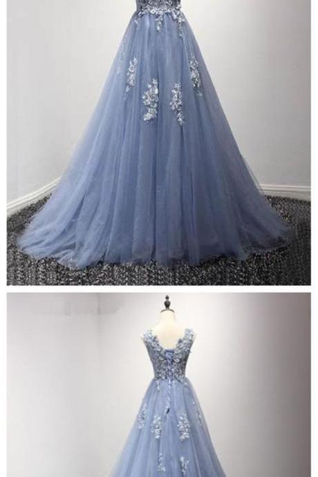 Corset Back Dusty Blue Lace Evening Prom Dresses, Popular Lace Party Prom Dresses, Custom Long Prom Dresses, Cheap Formal Prom