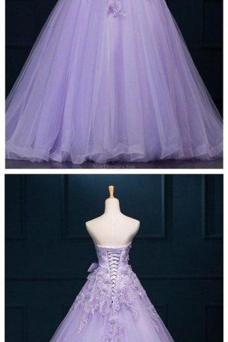 Ball Gown Prom Dresses Floor-length Appliques Lilac Long Prom Dress