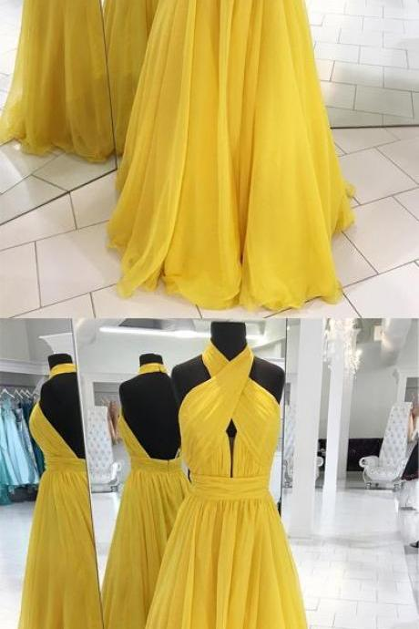 Unique Prom Dress,prom dresses, yellow prom dress, long prom dress,prom dress 2018
