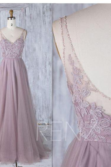 Dusty Thistle Tulle Bridesmaid Dress, V Beading Neckline Wedding Dress, A Line Prom Dress, Luxury Evening Gown