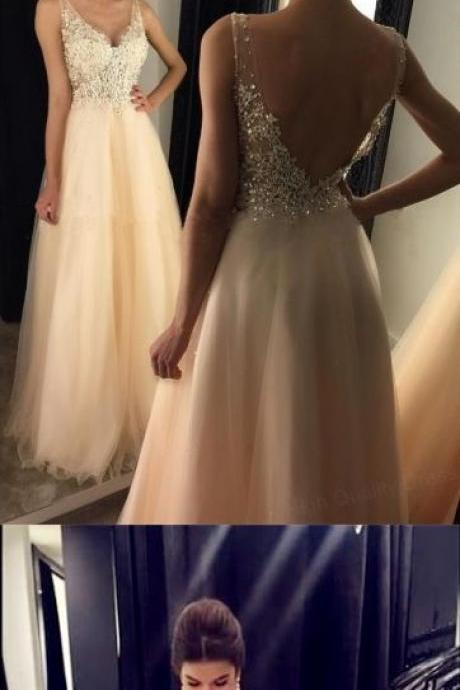 Chic Lace Appliques Beaded V Neck Open Back Long Champagne Prom Dresses