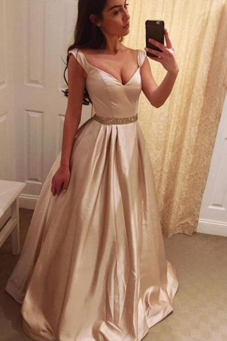 Champagne Prom Dresses,Sexy Prom Dress,Evening Dress.Satin Dresses,Evening Gown,Formal Women Dress,Prom Gown