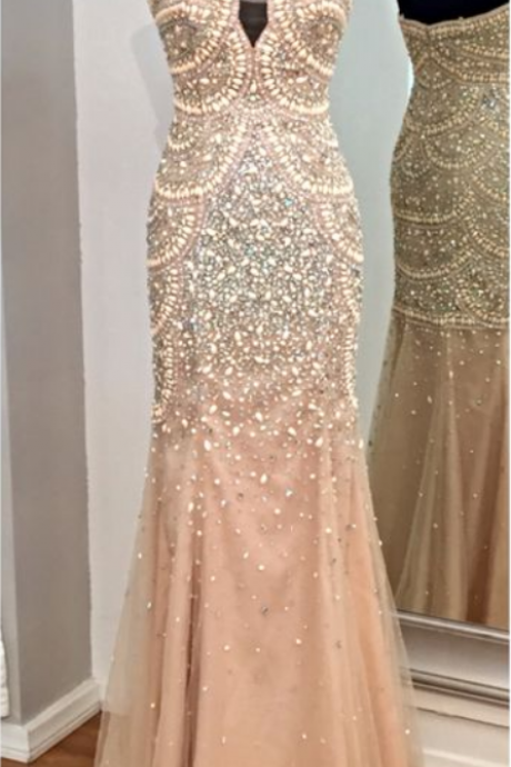 Tulle Evening Dresses Beading Beaded Prom Dress Fully Beaded Prom Dress with Pearls