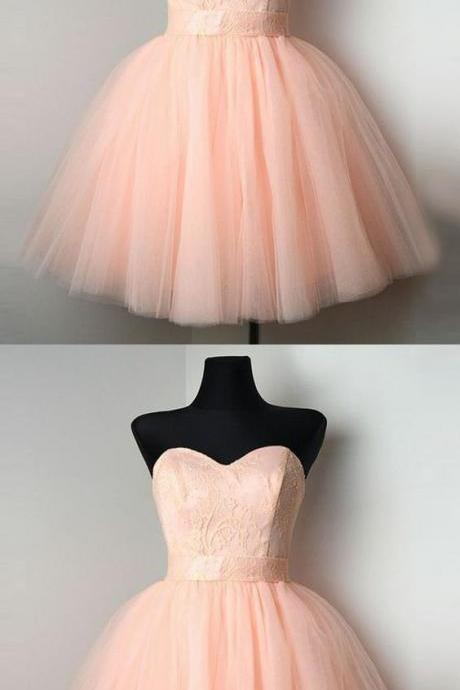 pink sweetheart homecoming party dresses, chic a-line fashion gowns with lace, cute semi formal dresses