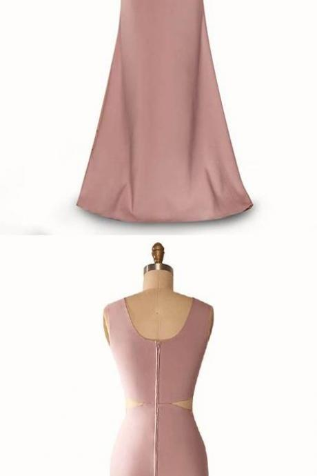 Mermaid Jewel Sleeveless Floor-Length Blush Satin Prom Dress