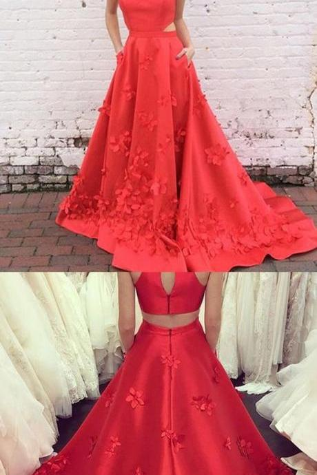 High Neck Prom Dresses,Keyhole Back Prom Dresses,Long Prom Dresses,Red Prom Dresses,Satin Prom Dresses,Appliques Prom Dresses,Prom Dresses