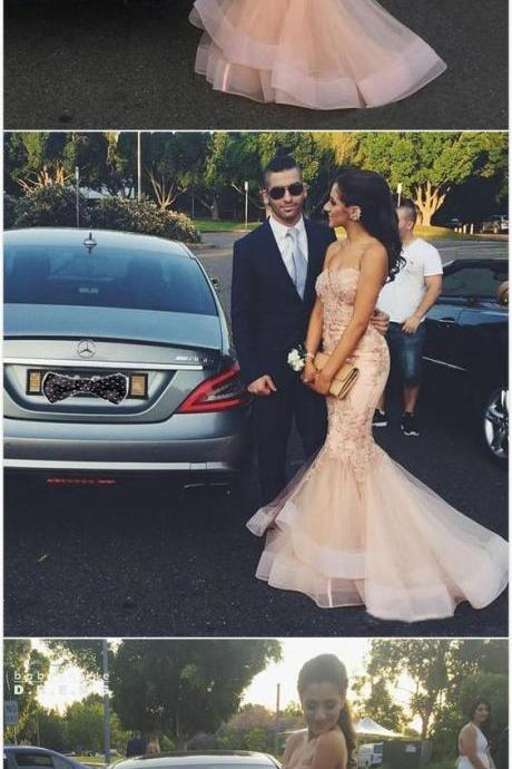 Lace prom dress,prom dress,tulle long prom dress,mermaid evening dress