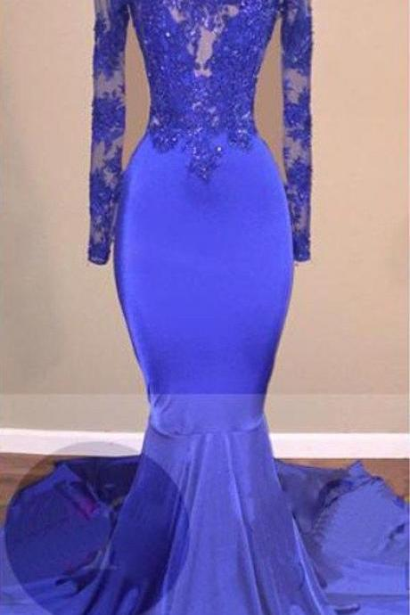 Royal Blue Backless Trumpet/Mermaid Stretch Satin Prom Dresses