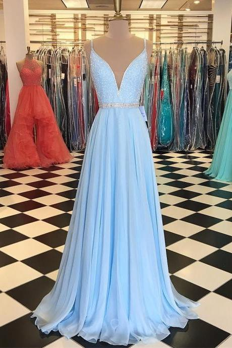 baby blue prom dress,chiffon prom dress, long evening gowns,beading dress,sexy prom dresses
