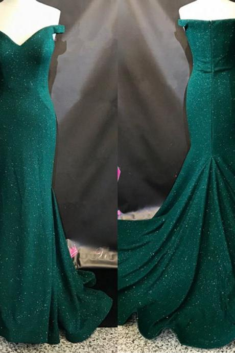 Emerald Green Evening Dresses,Mermaid Prom Dress,Sequins Evening Gowns,Off Shoulder Prom Dresses