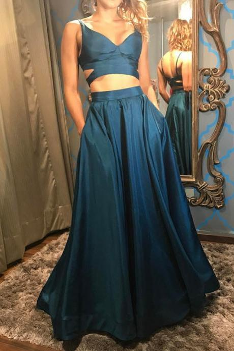 Two Piece Prom Dress,Satin Dress,Teal Green Prom Gowns,2 piece Evening Dress