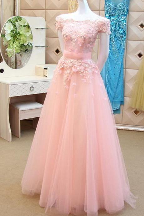 Off The Shoulder Prom Dress,Elegant Prom Dress,Pink Prom Dress,Elegant Evening Gowns,Tulle Dresss