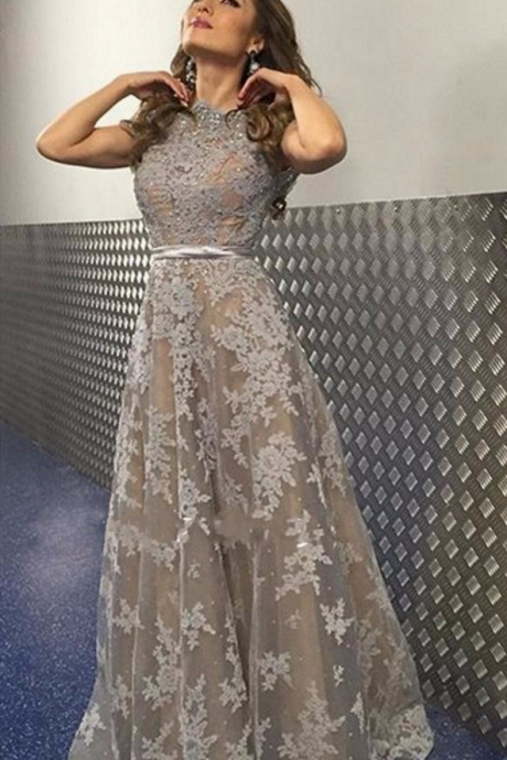 Elegant Grey Lace Evening Dress with Sleeves Beaded Rhinestones Appliques Off the Shoulder Long Formal Prom Dresses Robes