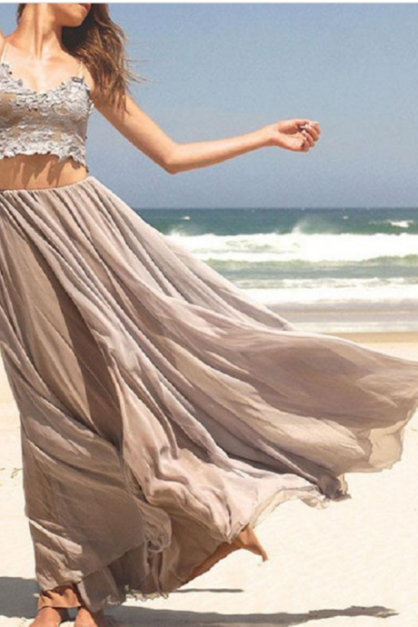 Two Piece Prom Dress, Beach Prom Dresses, Sexy Evening Dress