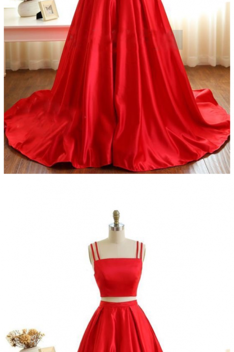 Cheap prom dresses ,Two Piece Prom Dresses,Spaghetti Straps Satin Prom Dresses