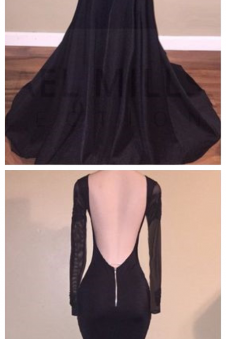 Sexy Appliques Long Sleeves Black Backless Mermaid Prom Dress