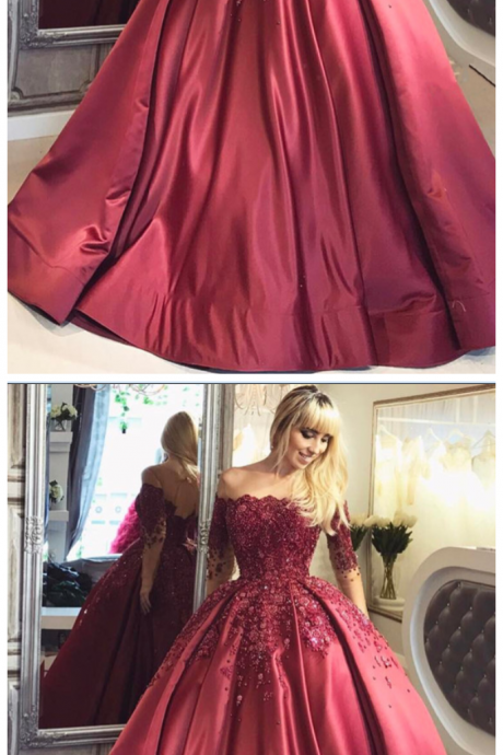 Burgundy Ball Appliques Crystal Off-the-Shoulder Long-Sleeves Prom Dresses