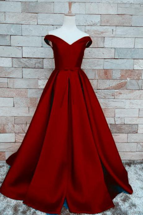 Pretty Burgundy A Line Prom Dresses Satin Off The Shoulder, Evening Gowns With Belt And Pleat, Burgundy Prom Dresses 2018