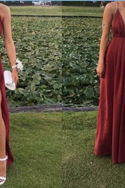 Sexy Wine Slit Straps Long Chiffon Party Gowns, Burgundy Prom Dresses, Formal Gowns