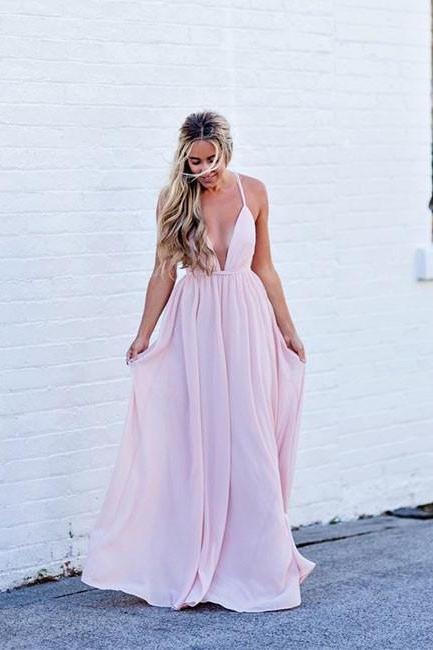 Romantic A-line V Neck Pink Long Prom Dress Party Dress