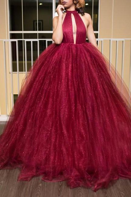 Luxurious Backless Red Long Ball Gown Prom Dress