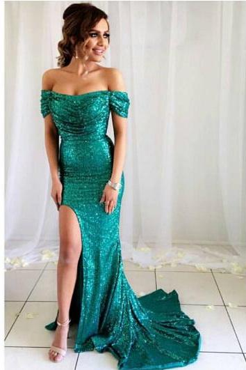 Gorgeous Off the shoulder Mermaid Long Green Sequins Prom Dress with Side Slit