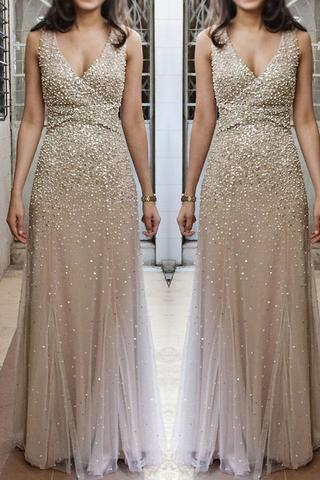 Champagne Prom Dress,V Neck Prom Dress,Beaded Prom Dress,Sleeveless Prom Dress,Mermaid Prom Dress,Long Sexy Prom Dress,Sexy Party Dress