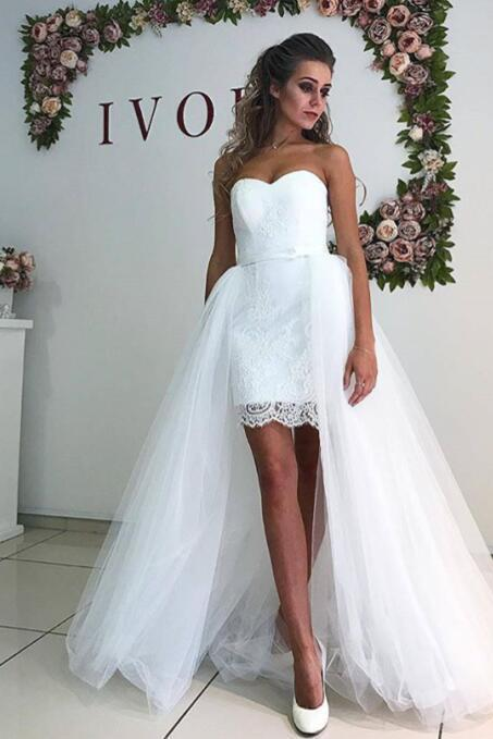 Wedding Dress,Lace Wedding Dresses,Tulle Wedding Dress,White Wedding Gown,Sexy Bridal Dress,Wedding Dress with Detachable Skirt