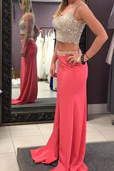 Prom Dresses,Satin Prom Dresses,Two Piece Prom Dresses,Prom Dresses for Teens,Sleeveless Prom Dresses,Beaded Prom Dresses,Two Piece Party Dresses