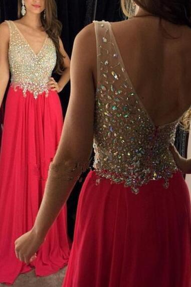 Red Chiffon Prom Dresses A-line Long V Neck Evening Dresses Beaded Crystals Formal Gowns Sexy Party Pageant Graduation Dresses for Teens Girls
