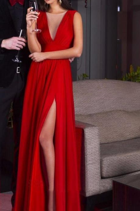 Red Chiffon Prom Dresses A-line Sexy Long Sleeveless Evening Dresses Formal Gowns Pleated Party Pageant Dresses with Side Slit for Women