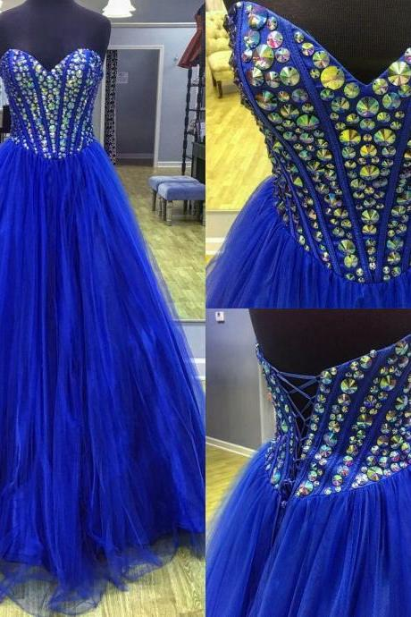 Royal Blue Tulle Prom Dresses Long A-line Sweetheart Evening Dresses Sleeveless Formal Gowns Sexy Beaded Crystals Party Pageant Dresses