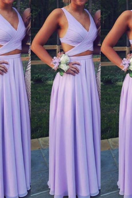 Two Piece Prom Dress,Long Chiffon Prom Dress,Long Formal Gowns for Teens,Lavender Prom Dress A-line Long Sexy,Women Formal Gowns,Long Party Dress
