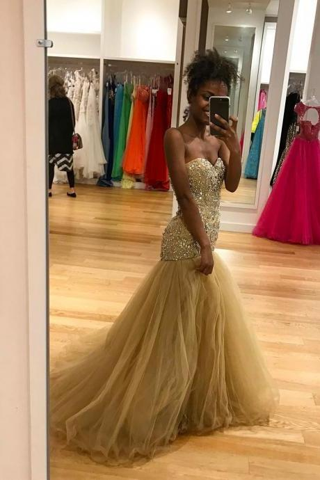 Champagne Tulle Prom Dresses Long Mermaid Beaded Party Dresses Sweetheart Evening Formal Gowns Sexy Graduation Dresses for Teens Girls