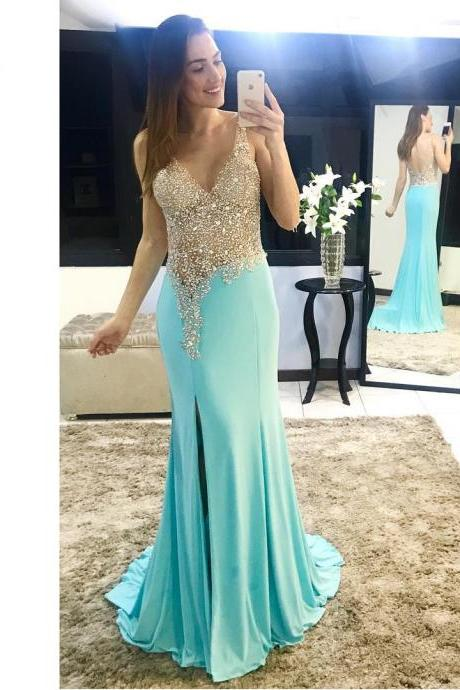 Sparkle Beaded V neck Prom Dresses Long Mermaid Party Dresses Graduation Dresses Chiffon Backless High Slit Evening Dress