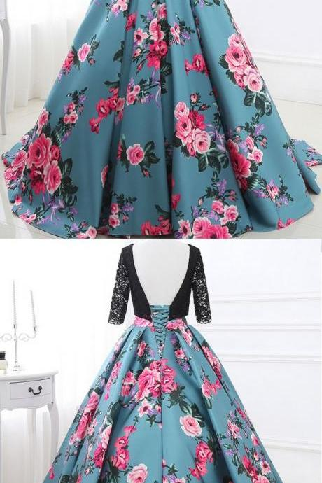 Special Lace & Floral Cloth Scoop Neckline 3/4 Length Sleeves Backless Ball Gown Prom Dress
