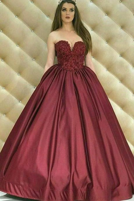Elegant Sweetheart Ball Gown Burgundy Satin Long Prom/Evening Dress with Lace