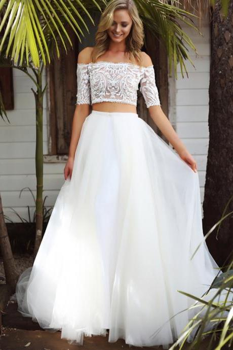 Mermaid Two-Piece Off Shoulder Half Sleeves White Tulle Long Wedding/Prom Dress with Lace