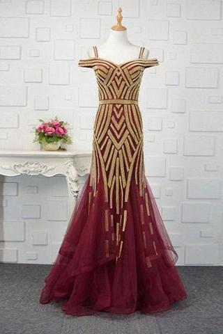 Luxurious Mermaid Off Shoulder Burgundy Tulle Long Prom/Evening Dress with Beading