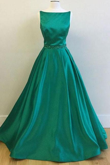 Beautiful A-Line Bateau Green Satin Long Prom/Evening Dress with Beading