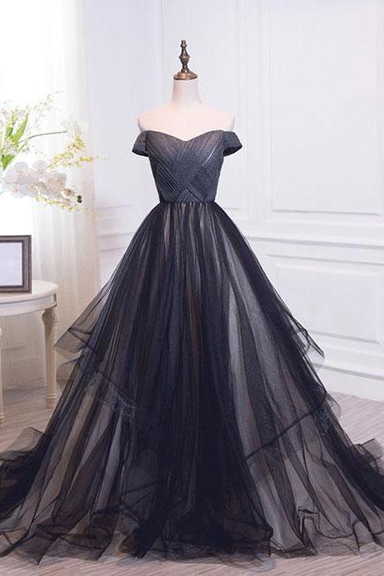 Elegant A-Line Off Shoulder Black Tulle Floor-Length Prom/Evening Dress