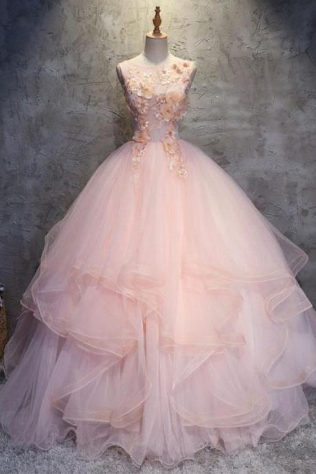 Charming Ball Gowns Round Neck Pink Tulle Long Prom/Evening Dress with Flowers